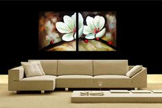Original Modern Abstract Art orchid flower Painting. I like the sofa too