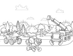 Scrambler, Dizzy, and Lofty Coloring Page – Bob the Builder Coloring Pages for Kids Printable Coloring Pages, Coloring Pages For Kids, Bob The Builder, Baby Development, Scrambler, Baby Boy Shower, Printables, Entertaining, Fun Crafts