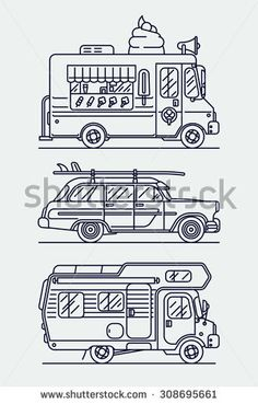 Set of linear vector trendy flat icons on leisure and recreational vehicles including caravan trailer camping truck, retro woodie surf car and ice cream van   Cool thin line contour cars