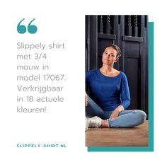 Dit blauwe crêpe viscose Slippely shirt heeft driekwart mouwen, een brede, hogere halslijn, een afgeronde onderkant en is recht vallend van model. Het Strong Blue Slippely shirt is gemaakt van 93% viscose en 7% elastan. Viscose draagt net zo prettig als katoen terwijl de stof zachter en soepeler is en zijdeachtig aanvoelt.  #slippely #slippelyshirt #onlineslippelyshirt #slippelyonline #slippelyshirtonline #mbstyling #mbstylingslippelyshirt #blauwslippelyshirt Lettering, Drawing Letters, Brush Lettering