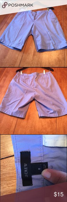 "J Crew. Bermuda shorts Summery and light J Crew Bermuda shorts. Medium sky blue color. 98% cotton, 2% spandex. Machine wash & dry. 9 1/2"" inseam. Lightweight, cool & comfy. Great used condition. Gently used & lovingly cared for. J. Crew Shorts Bermudas"