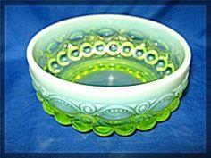 Vaseline Opalescent Glass Eye Winker Candy Dish