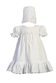 Embroidered Cotton Christening Baptism Dress with Ruffle  Size L 1218 month
