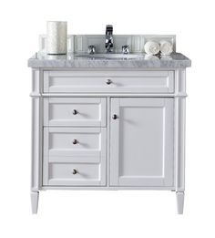 "Brittany 36"" Cottage White Bathroom Vanity James Martin"
