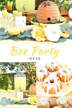 You'll love this sweet bee themed party! so many cute bee details, including a beehive smash cak 1st Birthday Girls, First Birthday Parties, Bee Birthday Cake, Frozen Birthday, Fete Anne, Bee Party Favors, Honeycomb Cake, Partys, Theme Parties