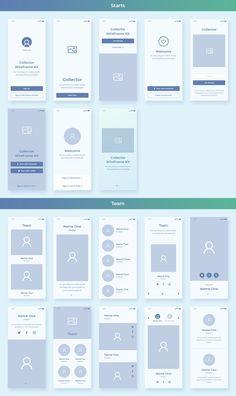 Collector iOS Wireframe UI kit for Adobe XD - Evatheme Website Design Layout, Web Layout, Ui Kit, Design Thinking, Ui Design Mobile, Mobile Ui, Wireframe Design, Dashboard Design, Graphisches Design