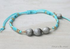 Job's Tears on Turquoise Blue Macrame by JonaraBluMauiJewelry, $15.00