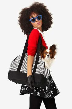 Kate Spade Saturday Pet Carrier in Signature Zig Zag, $150, available at Kate Spade Saturday.