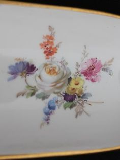 Meissen-Crossed-Swords-Floral-DeskTray-Pen-Holder-Great-Condition