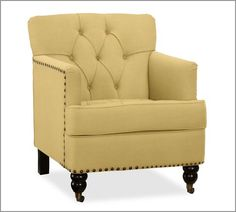 Pottery Barn's expertly crafted collections offer a widerange of stylish indoor and outdoor furniture, accessories, decor and more, for every room in your home. Upholstered Arm Chair, Armchair, Home Furniture, Outdoor Furniture, Colorful Chairs, Southern Homes, Yellow Rooms, Master Bedroom, Indoor