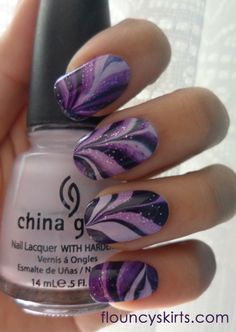 Purple water marble nails with fairy dust sparkles Love Nails, How To Do Nails, Fun Nails, Prom Nails, Purple Nail Designs, Nail Art Designs, Nails Design, Water Marble Nail Art, Purple Nails