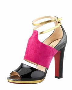"Lasauve Colorblock Sandal, Grenadine/Multi by Christian Louboutin at Neiman Marcus...the perfect ""heel"""