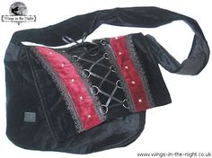 BARES Black Velvet Gothic Laced Bag from Wings in the Night UK