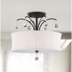 Indoor 5-light Antique Bronze White Shade Flush Mount Chandelier | Overstock.com Shopping - Great Deals on Chandeliers & Pendants