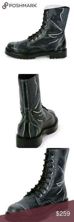 Moschino Men's Trompe L'oeil Black/Gray Leather 8 Beautiful Authentic Moschino calf leather combat boot in trompe l'oeil boot print.Round cap toe.Lace-up front.Leather lining and insole.Lugged rubber sole.Made in Italy Size 8 Original Price $560  ** NO RETURN ACCEPTED** MOSCHINO Accessories Hats