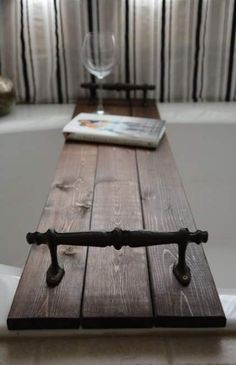 This is a beautiful rustic bath tub caddy stained in the dark Kona rustoleum color. This piece has been sanded stained and sealed with a waterproof sealant. It has 2 small wood pieces underneath to hold the caddy in place. This is a made to order item Bathtub Decor, Bathtub Tray, Bathtub Caddy, Bath Tub Decor Ideas, Bath Trays, Wood Bath Tray, Bathtub Shelf, Bathroom Ideas, Design Thinking