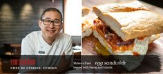 fried egg, kimchi, bacon sandwich.  weird, but totally something i would eat.
