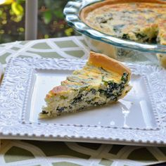 Eggs whipped with ricotta, basil, and cream blanket a filling of spinach and red onions in this easy, gourmet-tasting quiche that's perfect for any meal of the day. Breakfast Baked Potatoes, Breakfast Quiche, Savory Breakfast, Breakfast Time, Quiche Recipes, Brunch Recipes, Breakfast Recipes, Breakfast Dishes, Brunch Ideas