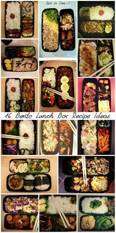 16 real bento box lunches with recipe ideas. http://www.sewinlove.com.au/2013/08/13/16-days-bento-lunch-boxes-16%E6%97%A5%E9%96%93%E3%81%AE%E3%81%8A%E5%BC%81%E5%BD%93/