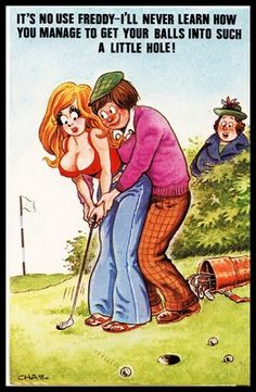 Early 1960 Signed Bamforth comic Risqué Postcard Golf Niblick club Balls in hole