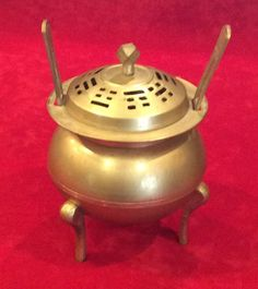 Unusual Vintage Asian Korea Handle Chop Marks Brass Urn Incense Burner  #Unknown