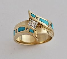 turquoise wedding ring in gold with diamond - Wedding Rings Gold