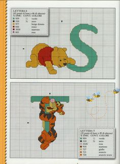 (3) Gallery.ru / Фото #2 - Disney Punto Croce n.47 - peperina75 Cross Stitch Alphabet, Cross Stitch Baby, Cross Stitch Charts, Embroidery Fonts, Cross Stitch Embroidery, Disney Cross Stitch Patterns, Crochet Diagram, Hobbies And Crafts, Winnie The Pooh