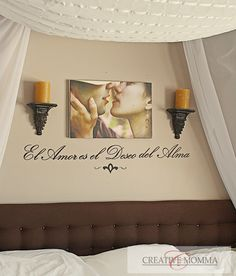 I love the idea of hanging a cute photo of your loved one above your bed.. so cute!