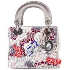Christian Dior Mini Lady Dior (1,500 KWD) ❤ liked on Polyvore featuring bags, handbags, mini bag, christian dior handbags, white handbags, mini handbags y white satin purse