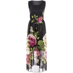 Plus Size Sleeveless Scoop Neck Floral Print Women s Dress ($21) ❤ liked on Polyvore featuring dresses, plus size day dresses, womens plus dresses, floral dresses, scoop-neck dresses and botanical dress