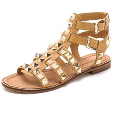 Rebecca Minkoff Sage Studded Gladiator Sandals - Nude (705 AED) ❤ liked on Polyvore featuring shoes, sandals, nude leather shoes, gladiator sandals shoes, rebecca minkoff sandals, rebecca minkoff and gladiator sandals