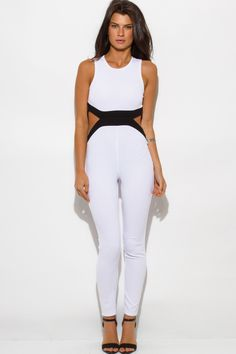 6a2112ac2456af Cute cheap white color block cut out backless fitted bodycon clubbing catsuit  jumpsuit
