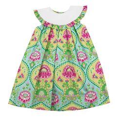 Le Za Me Floral Bib Collar Dress - Toddler Girl