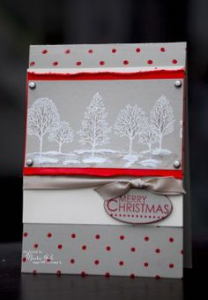handmade Christmas card ... gray and white with a pop of red .. luv the white embossed trees with a bit of darker gray inking in the middle for depth ... luv it! ... Stampin' Up!