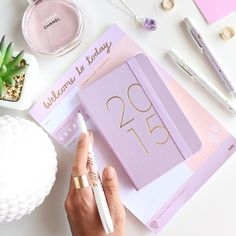 how to style instagram photos like a blogger: bright color - 2015 lilac planner paired with a matching notebook + chanel perfume, amethyst necklace + succulent plant