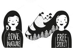 Typography love nature illustrations by julymilks on @creativemarket
