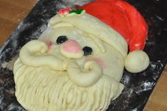 Finished Santa Bread before baking Santa Bread Tutorial