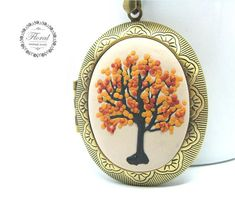 Tree of Life Locket, Tree-of-Life Necklace, Autumn Necklace, Tree Locket for Her, for Mom, Boho Locket Necklace, Gift for Wife This is a unique, handmade, polymer clay, photo locket necklace with Tree of Life motifs in boho style. This beautiful tree of life Necklace is a piece of