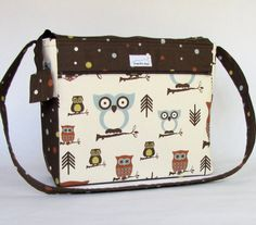 owls diaper bag, 12 compartments, cross body strap on Etsy, $65.00