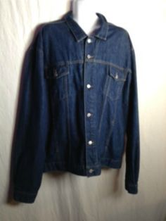 Guess Men's 4X Dark Blue Denim 2 Pockets Metal Buttons Jean Jacket, Made in USA  #GUESS #BasicJacket