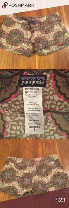 """Patagonia Board Shorts Olive green medallion print nylon board shorts. Snap fly with tie. 2.5"""" inseam. 15.5"""" across waistband. Patagonia Shorts"""
