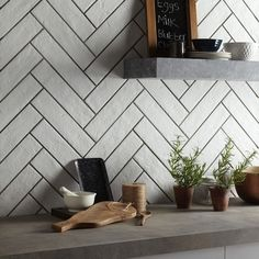 Brick White Porcelain Tile Size: 74 x 310 mm This Tile Can Be Used In Areas of Your Home: Kitchen / Hallways / Living Spaces / Bathrooms / Conservatories + Brick Effect Tiles, White Brick Tiles, Wall And Floor Tiles, Wall Tiles, Home Design, Interior Design, Kitchen Underfloor Heating, White Porcelain Tile, Porcelain Floor