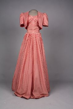 ~Dress and bolero, 1938-39~   30s 40s gown fashion style color photo red white stripes long skirt evening formal prom