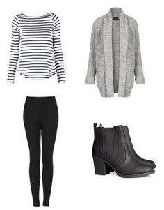 Striped shirt, grey sweater, black pants and black boots
