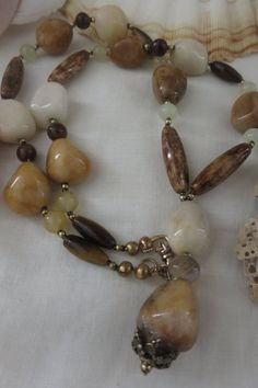 Chunky Stone Necklace Handmade Necklace Statement by BeadTese Handmade Necklaces, Handcrafted Jewelry, Unique Jewelry, Handmade Gifts, Summer Necklace, Stone Necklace, Tigers, Beautiful Things, Jasper