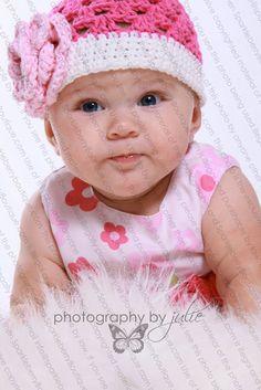 Beanie Hat Crocheted The Jaleesa Hot Pink by SparkleberryCrafts, $23.00