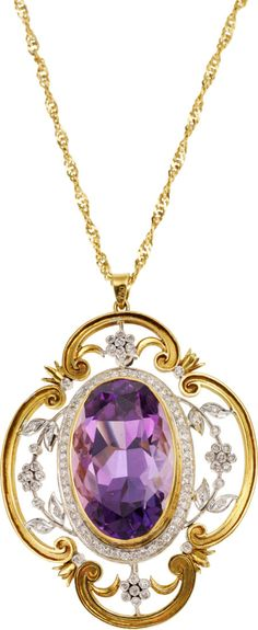 Amethyst, Diamond, Gold Pendant-Brooch-Necklace The pendant-brooch features an oval-shaped amethyst measuring 24.50 x 16.00 11.60 mm and weighing approximately 29.50 carats, enhanced by single-cut diamonds weighing a total of approximately 0.50 carat, set in 18k white and yellow gold