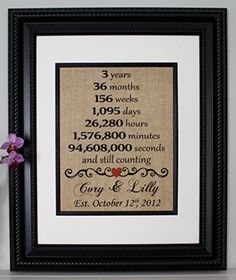 Third Anniversary Burlap Year Married 3rd Three Print Sign Personalized