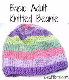 Basic Adults Knitted Beanie knit in wprsted weight (4) yarn