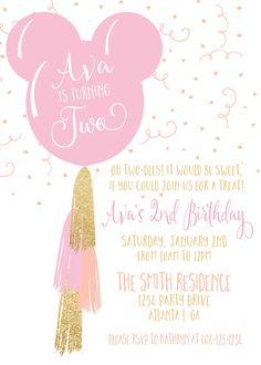 Invitación del cumpleaños de la borla del globo de Minnie